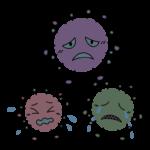 弱っているウイルス菌・ばい菌のキャラクターのイラスト
