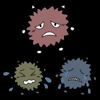 駆除されたウイルス菌・ばい菌のキャラクターのイラスト