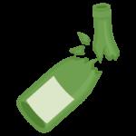 割れた瓶(緑色)のイラスト