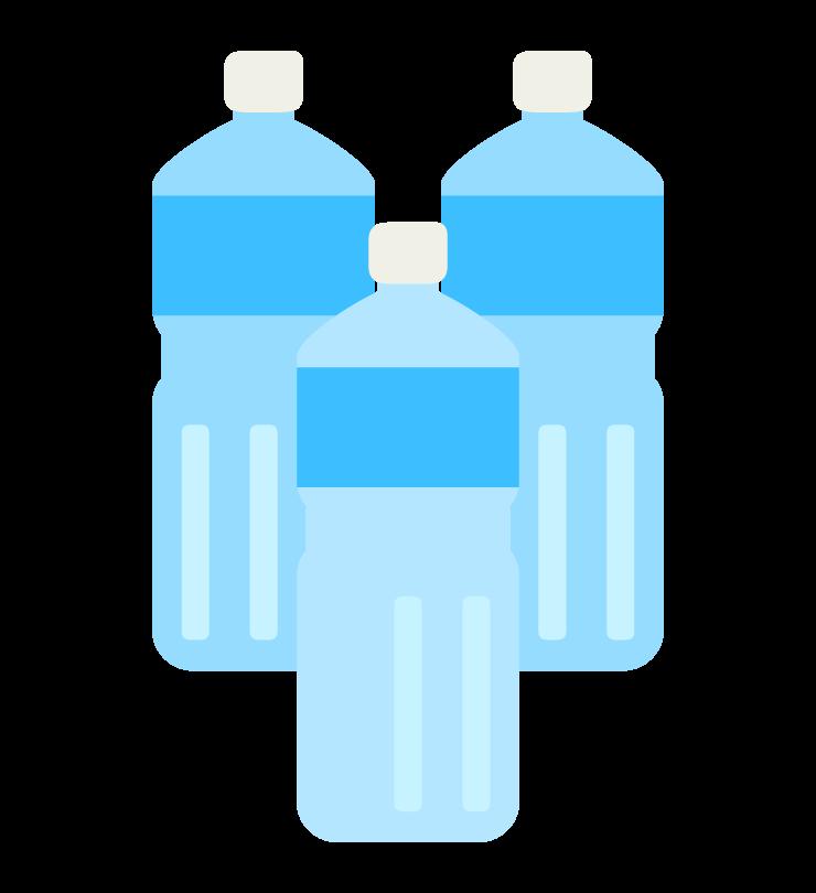 水が入ったペットボトルのイラスト