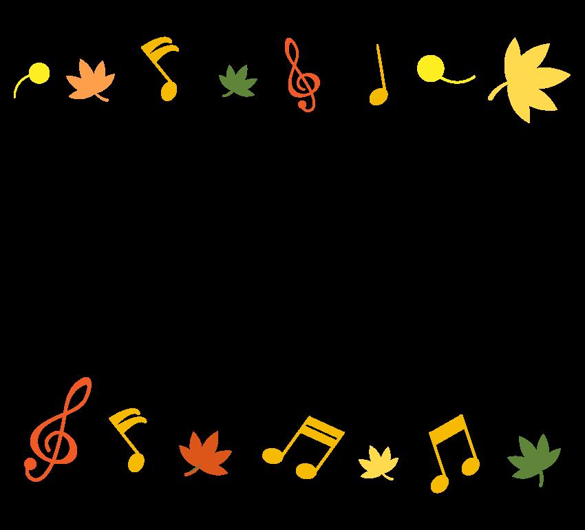 紅葉と音符の音楽フレーム・飾り枠のイラスト