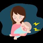 夜泣きする赤ちゃんとママのイラスト