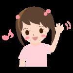 手を振る女の子のイラスト