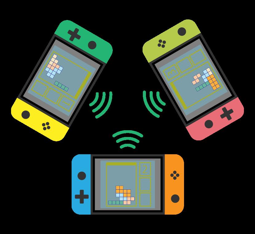 ポータルブルゲーム機で対戦のイラスト