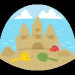 ビーチで砂遊びのイラスト
