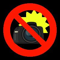 カメラのフラッシュ撮影禁止のイラスト
