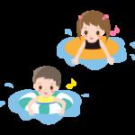 浮輪をつけて水遊びをするこども達のイラスト