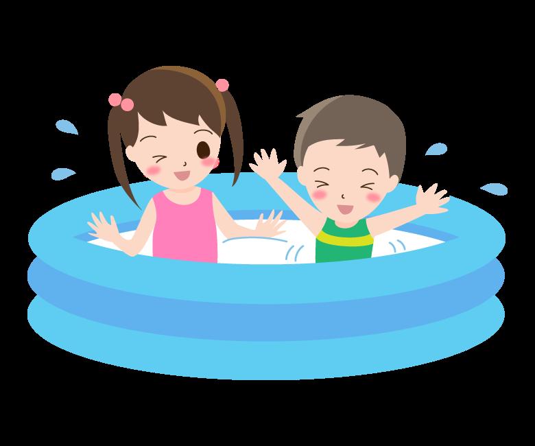 家庭用プールで遊ぶ子ども達のイラスト