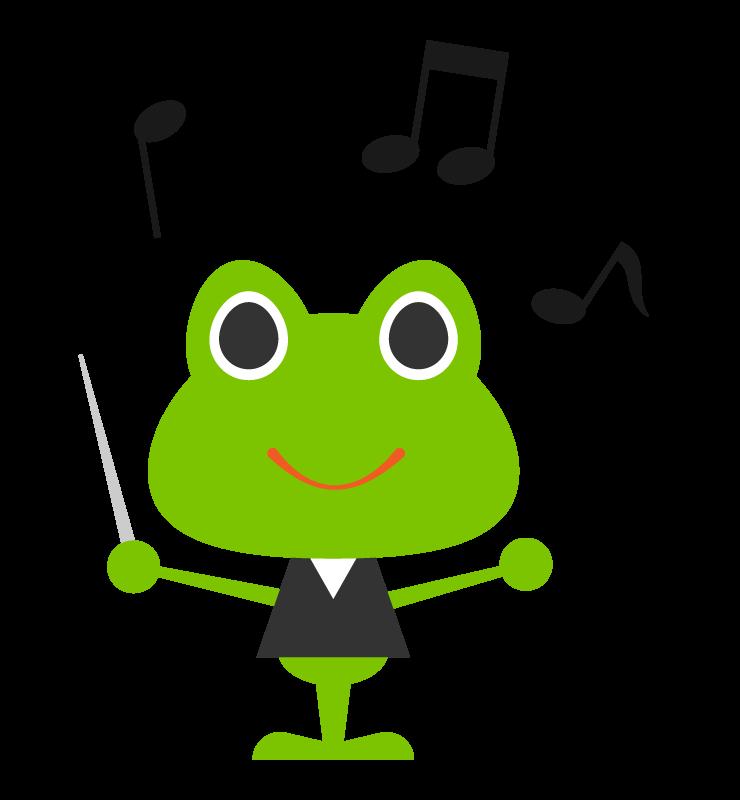かわいい蛙の指揮者のイラスト