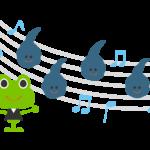 かわいい蛙とオタマジャクシの音楽のイラスト