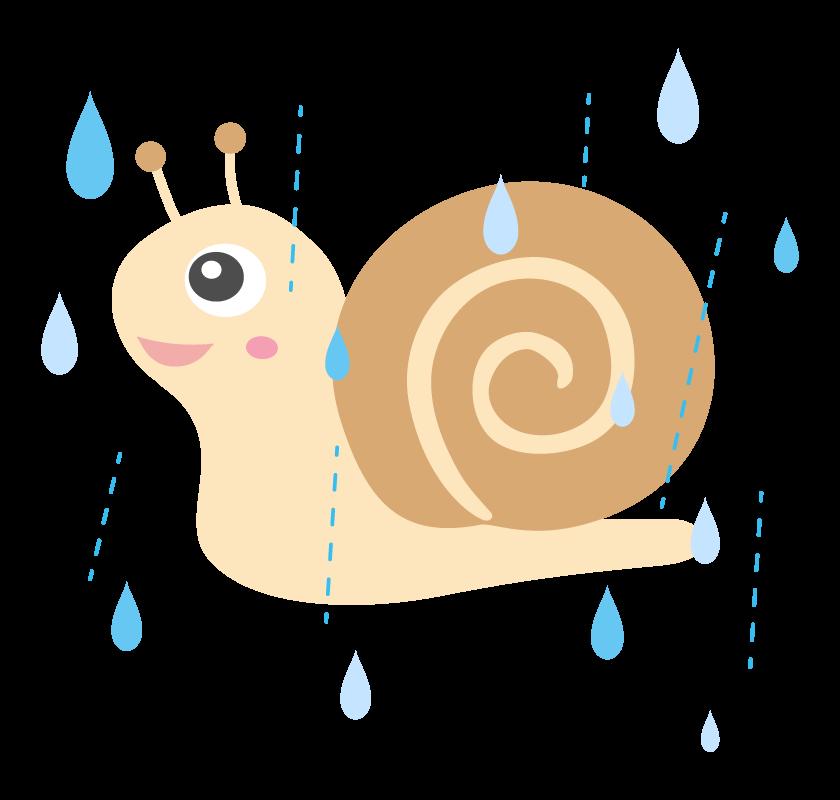 かわいいカタツムリと雨のイラスト