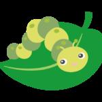 葉っぱとかわいい青虫のイラスト