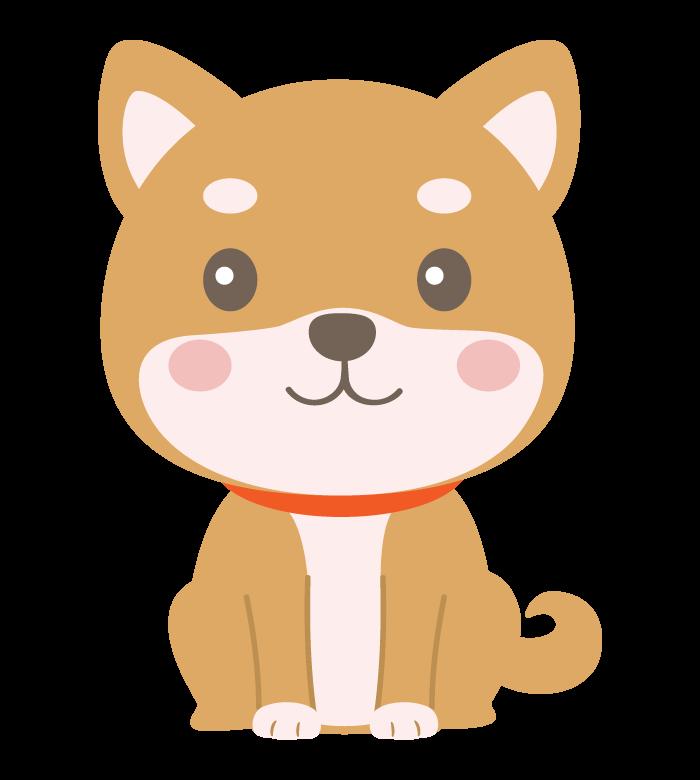 お座りしているかわいい柴犬のイラスト