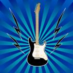 エレキギターで演奏のイラスト
