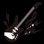 白黒のエレキギターの演奏のイラスト