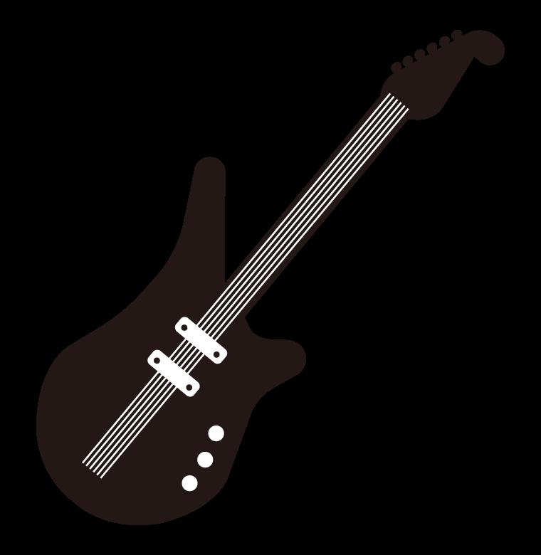 白黒のエレキギターのイラスト