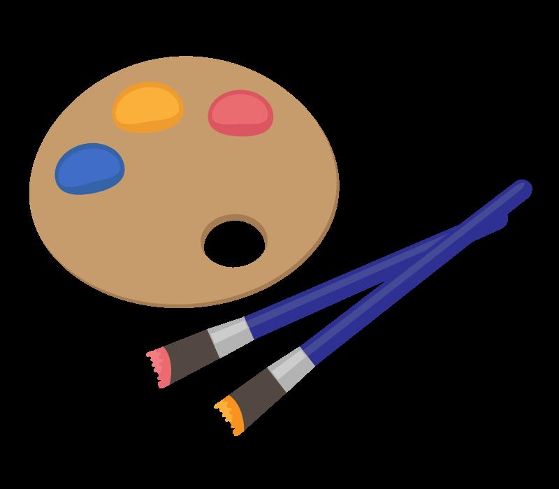 絵筆と絵具のパレットのイラスト