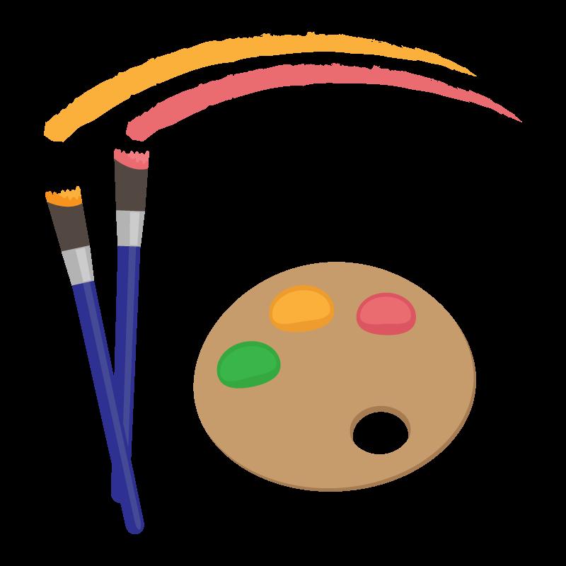 絵画・絵具のパレットのイラスト