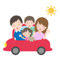 車で家族旅行のイラスト