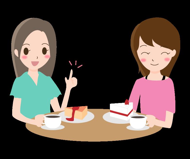 お茶しながら女性同士で会話しているイラスト