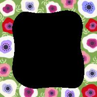 アネモネのフレーム・飾り枠のイラスト