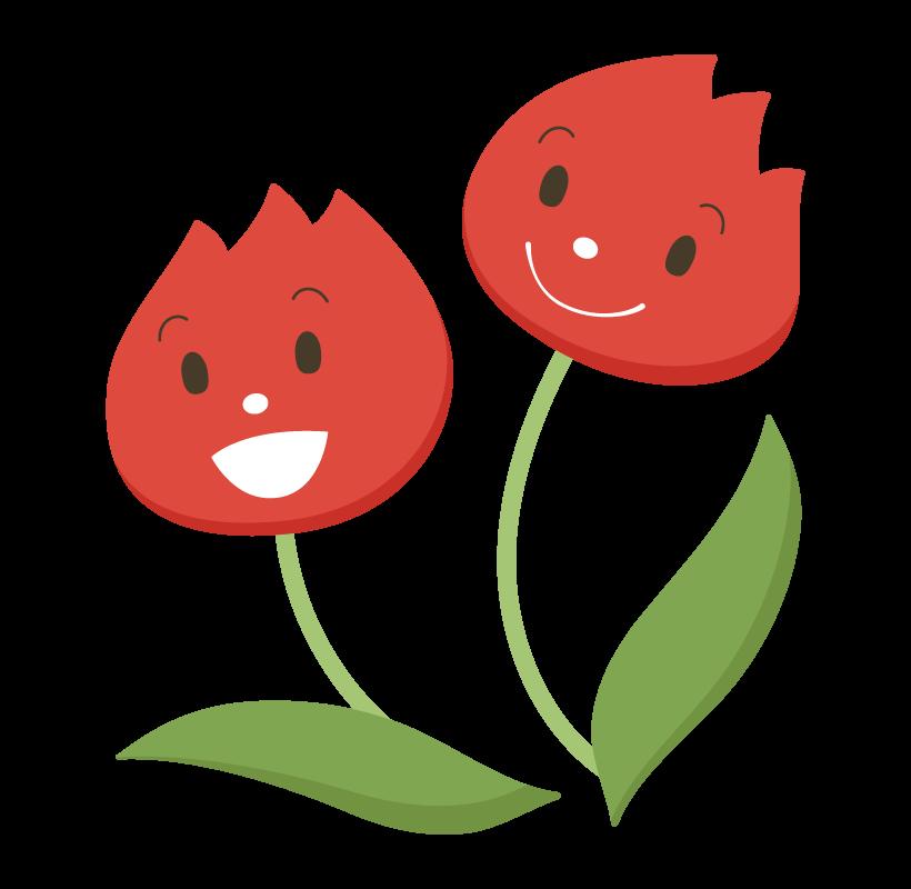 かわいい真っ赤なチューリップのイラスト