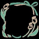 リボンとチューリップの手書き風フレーム・飾り枠のイラスト