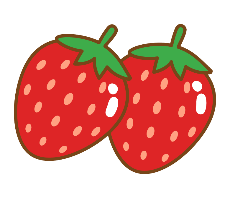かわいい苺(いちご)のイラスト