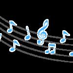 シンプルな音符と五線譜のイラスト