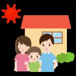 3人家族とお家のイラスト