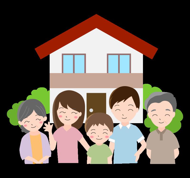 5人家族とお家のイラスト