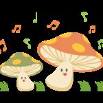 キノコと音楽のイラスト
