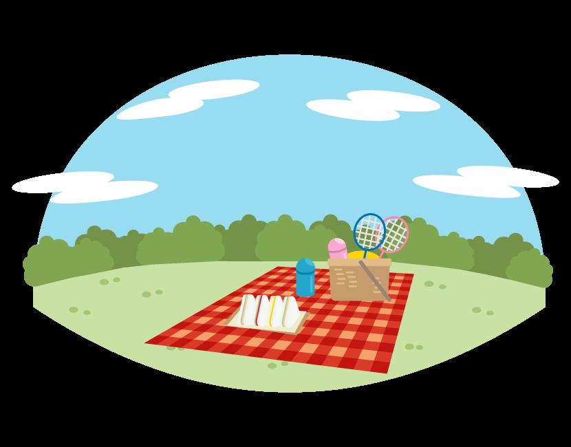 公園でピクニックのイラスト