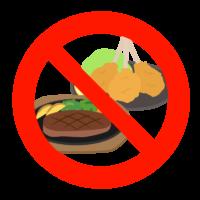 肉類や揚げ物の摂取禁止(控える)のイラスト