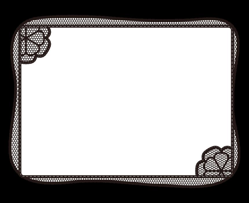 白黒の網目(メッシュ)デザインのフレーム・飾り枠のイラスト