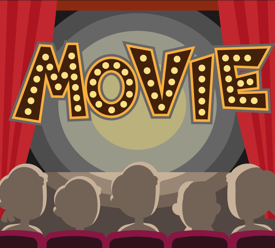 映画館で映画鑑賞のイラスト