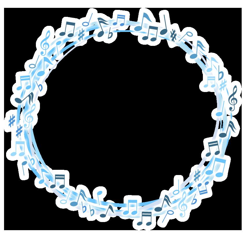 音符のサークル状の音楽フレーム・飾り枠のイラスト