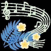 プルメリアと音符のイラスト