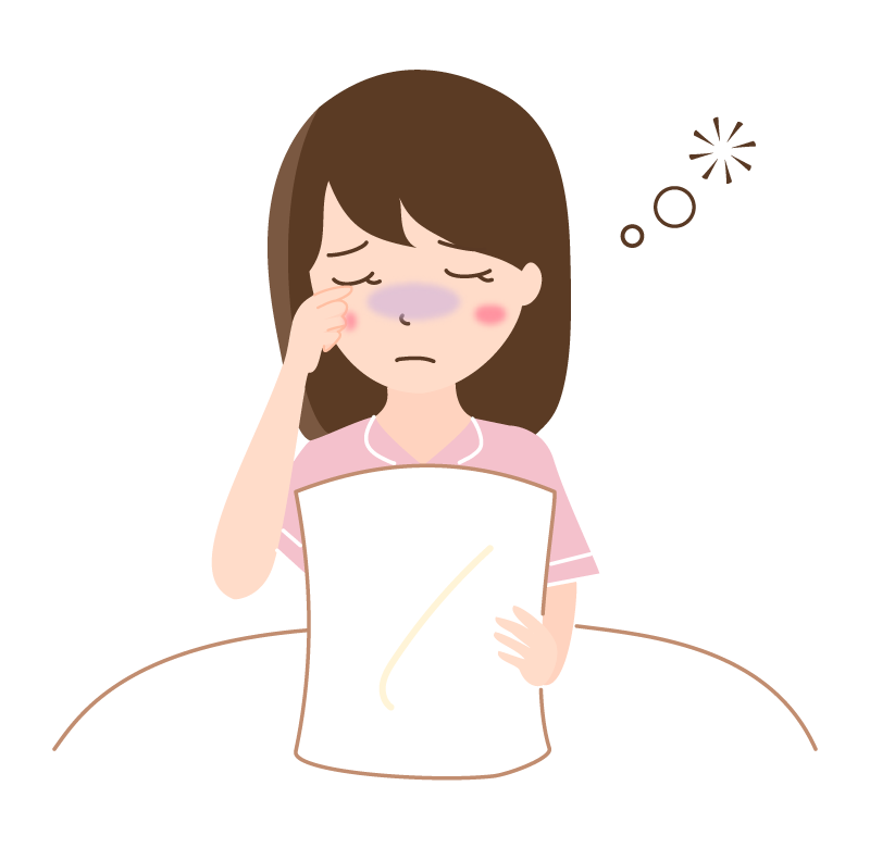 寝不足の女性のイラスト