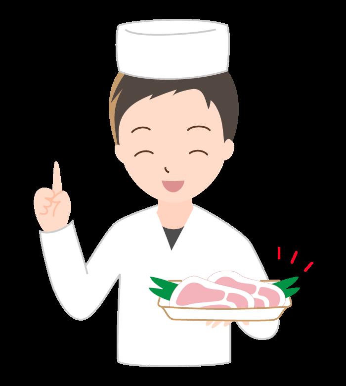 ロース肉とお肉屋さんのイラスト