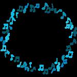 音符のサークル状フレーム・飾り枠のイラスト