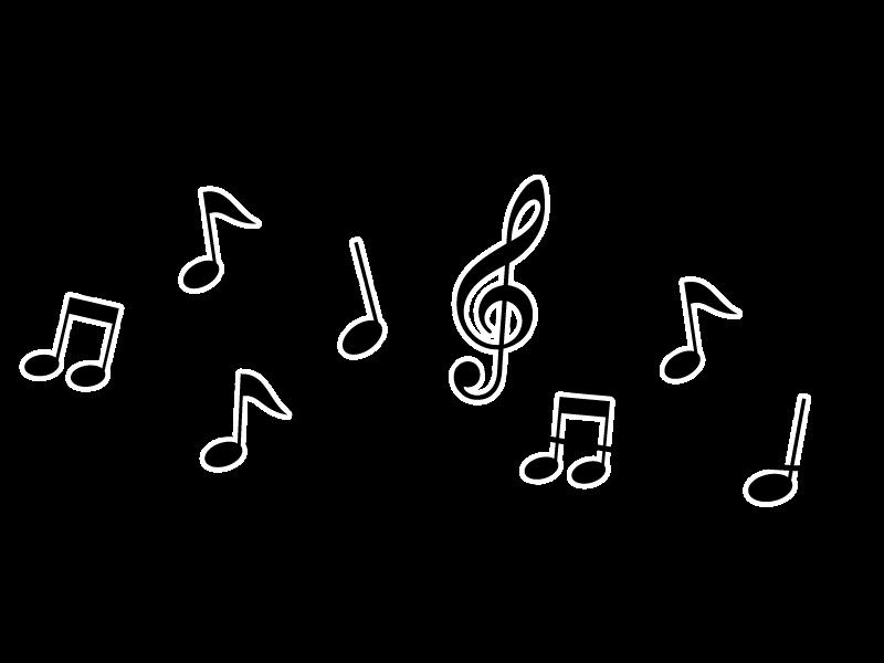 白黒の音符と五線譜のイラスト