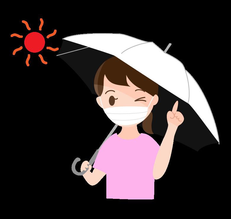 日傘でマスク時の熱中症対策のイラスト