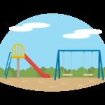 公園の滑り台とブランコのイラスト