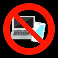 PCやスマホの使用禁止のイラスト