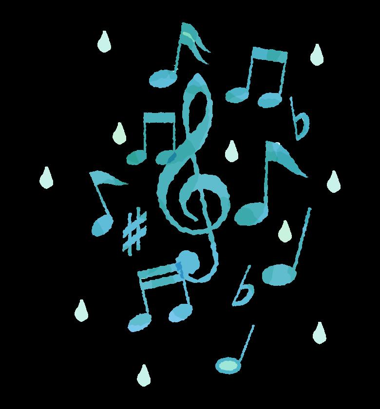 音符と雫のイラスト