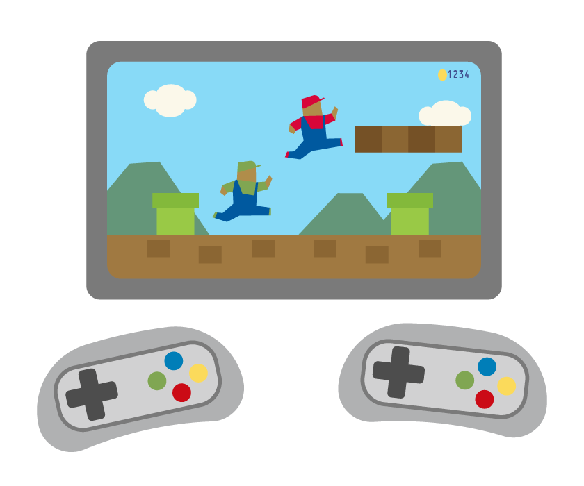 レトロテレビゲームのイラスト