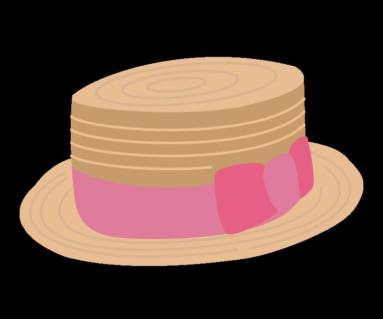 リボン付き麦わら帽子のイラスト