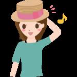 リボンの麦わら帽子をかぶっている女性のイラスト