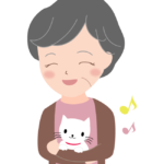おばあちゃんと猫のペットのイラスト
